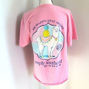 Simply Southern Pink Lama Be Happy Stay Sweet L